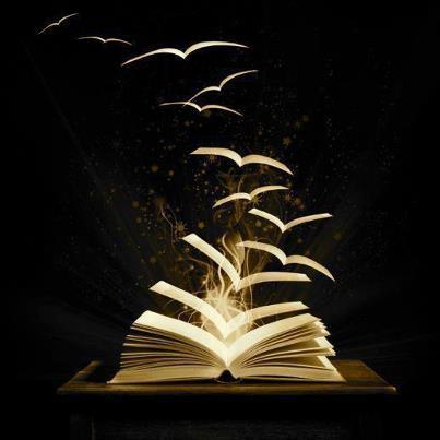 Painting of an open book, the pages appearing to fly away like birds.