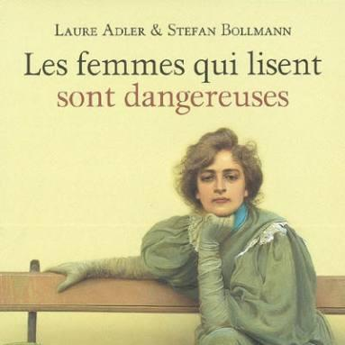 """Painting of a woman in Victorian dress, sitting on a bench, with the words """"women who read are dangerous"""" in French."""