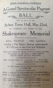 Flier with text advertising tickets for a Shakespeare Memorial Ball at Sydney Town Hall
