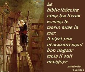 Painting of an old man atop a library ladder, with text in French.