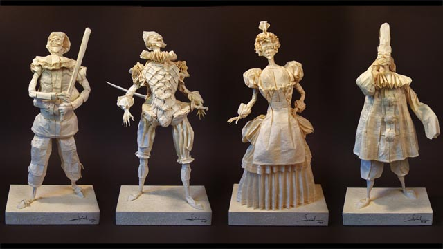 Origami figures of Commedia characters (3M 1F)