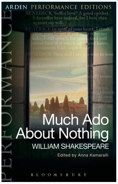 Book cover showing an Italian landscape seen through a casement window.