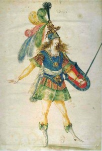 C17th watercolour of man in plumes and bright colours.