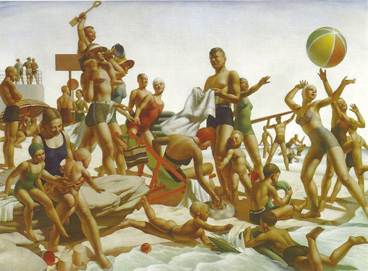 1940 painting of bathers playing with a beach ball.