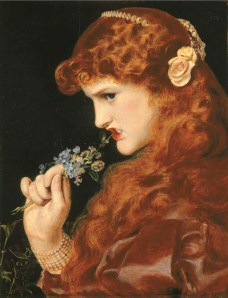 Pre-Raphaelite portrait of a red-haired girl biting the head off a flower.