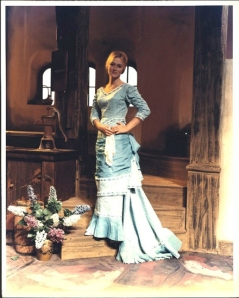 Very young Meryl Streep in powder blue C19th gown.