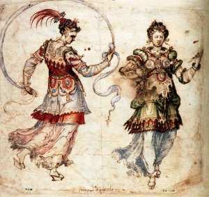 Pen and watercolour drawing of a pair of Renaissance ladies in costume.