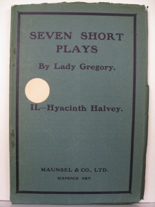 """Antique paperback, """"Seven Short Plays by Lady Gregory""""."""