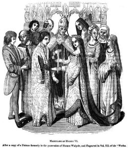 Line drawing of medieval royal marriage.