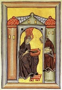 Medieval painting of Hildegard von Bingen transcribing a vision.