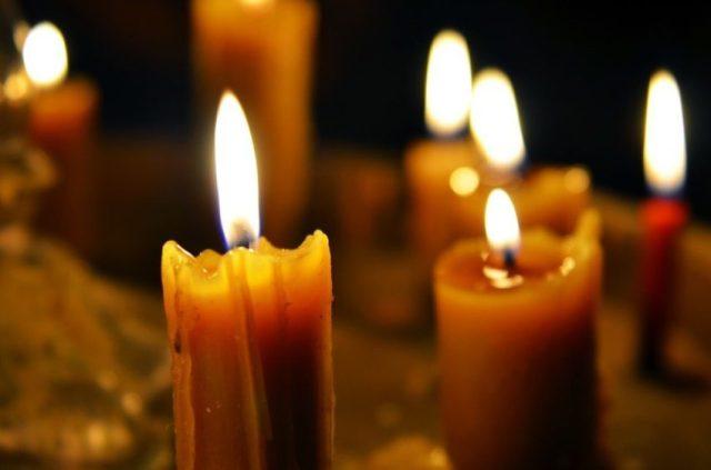 Several candles burning.
